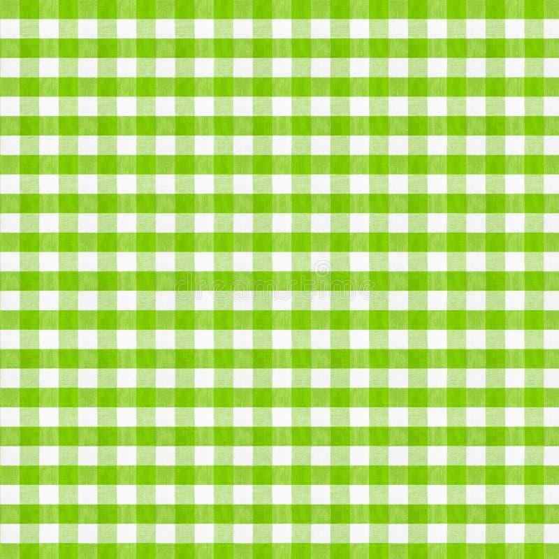 Реальная зеленая checkered скатерть ткани иллюстрация штока