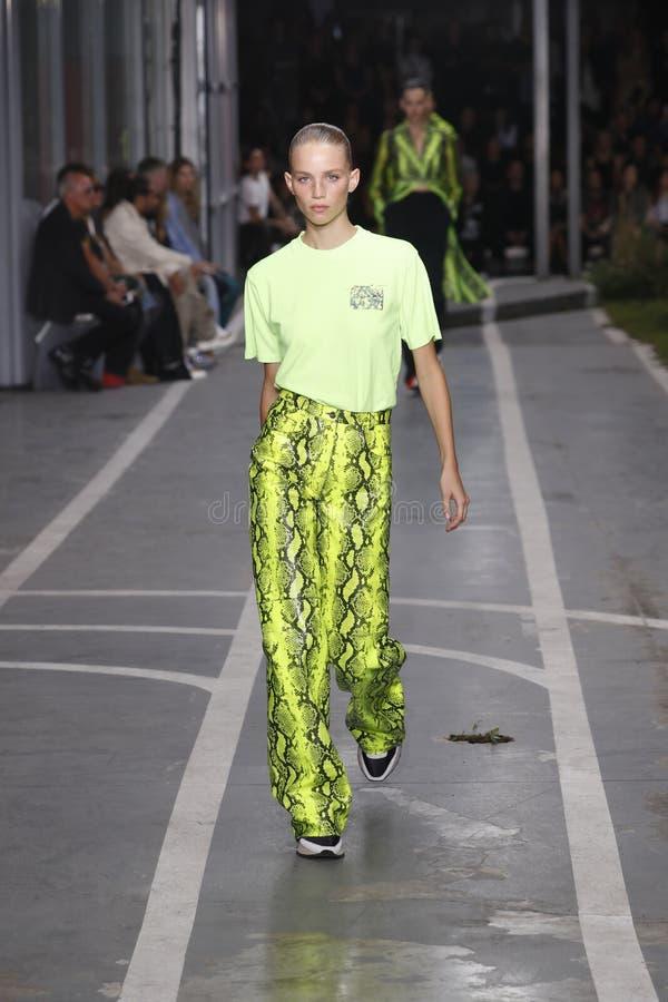 Ребекка Leigh Longendyke идет взлетно-посадочная дорожка во время -белого шоу как часть весны Womenswear недели моды Парижа/лета  стоковое изображение rf