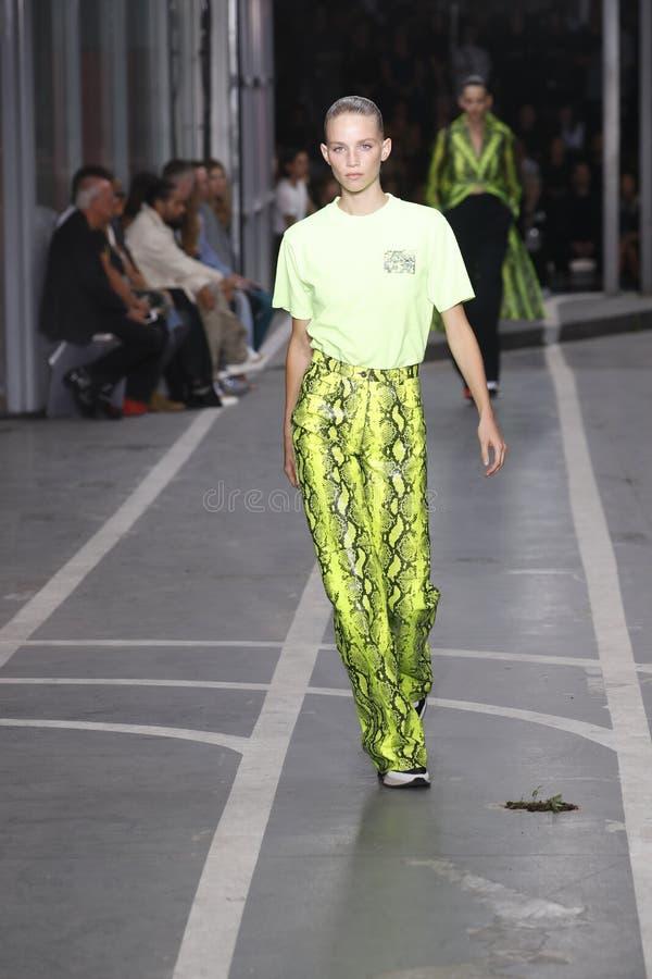 Ребекка Leigh Longendyke идет взлетно-посадочная дорожка во время -белого шоу как часть весны Womenswear недели моды Парижа/лета  стоковая фотография