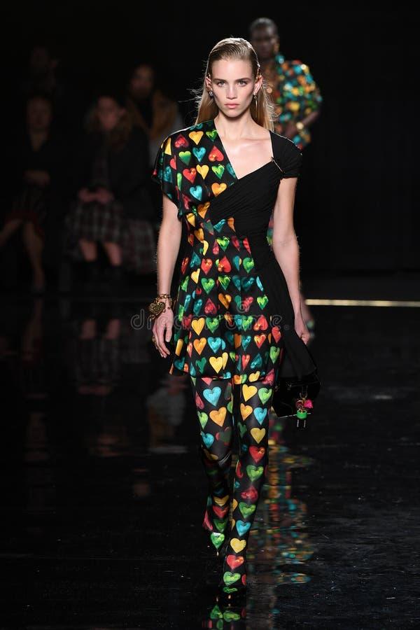 Ребекка Leigh Longendyke идет взлетно-посадочная дорожка на собрание Пре-падения 2019 Versace стоковые фотографии rf