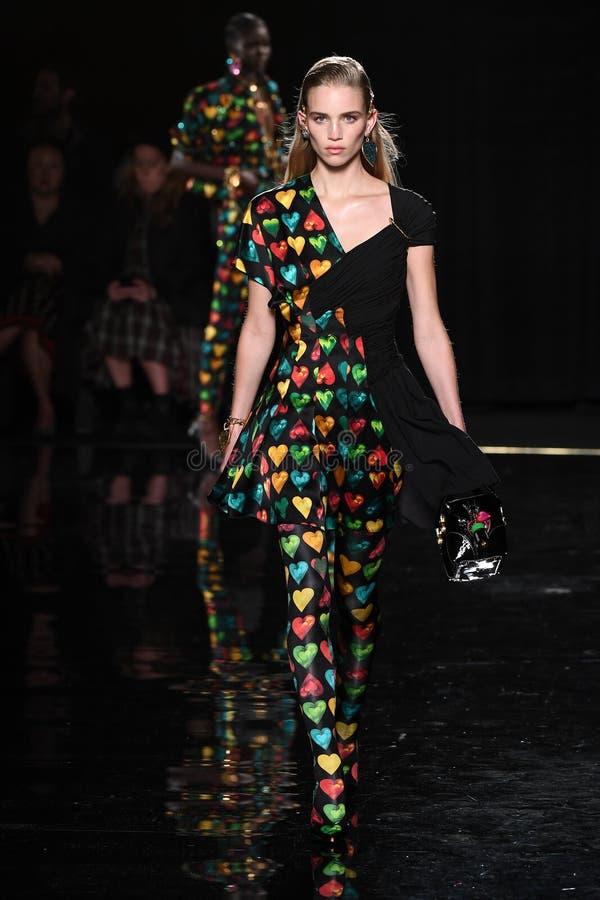 Ребекка Leigh Longendyke идет взлетно-посадочная дорожка на собрание Пре-падения 2019 Versace стоковое фото rf