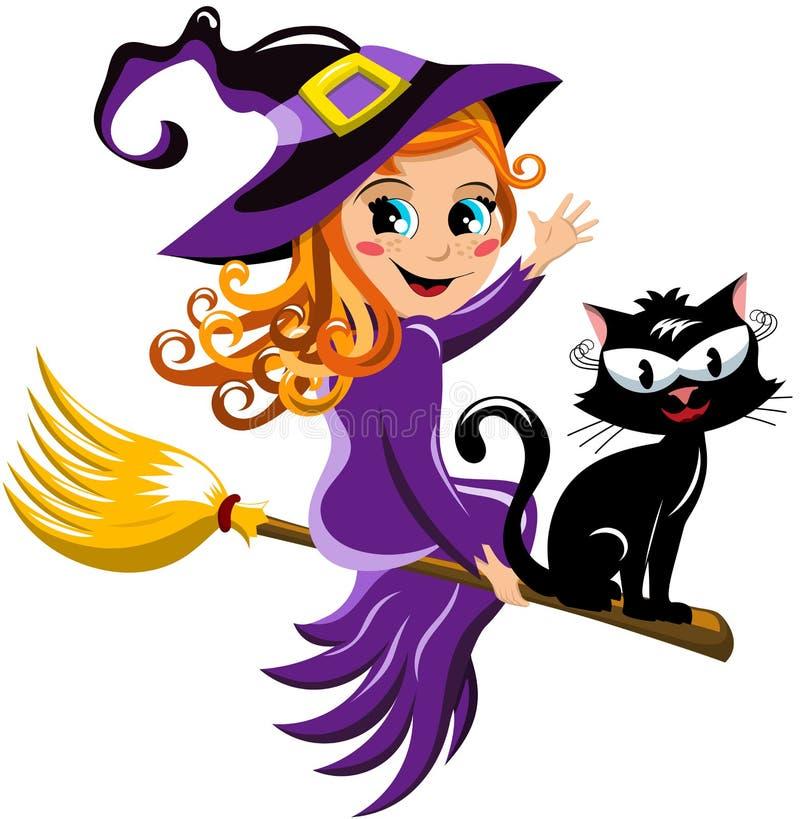 Ребенк веника летания кота ведьмы хеллоуина иллюстрация вектора
