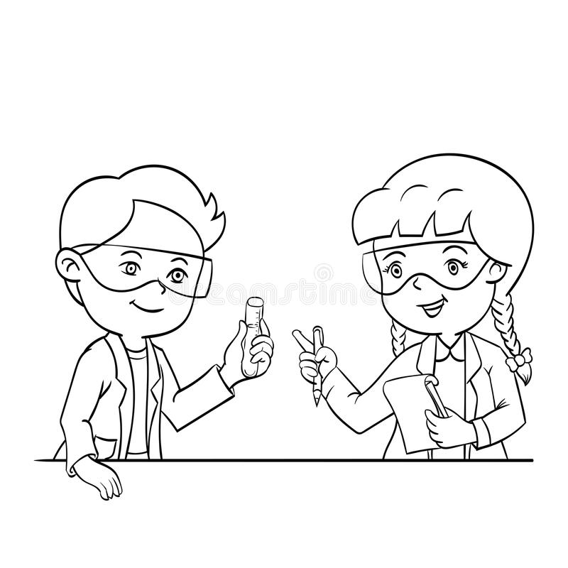 Ребенк в иллюстрации вектора класса науки нарисованной рукой бесплатная иллюстрация