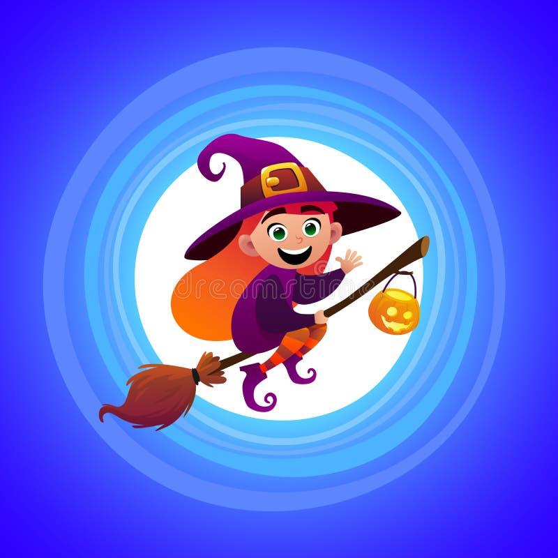 Ребенк девушки ведьмы хеллоуина маленький в костюме хеллоуина летая над луной иллюстрация штока