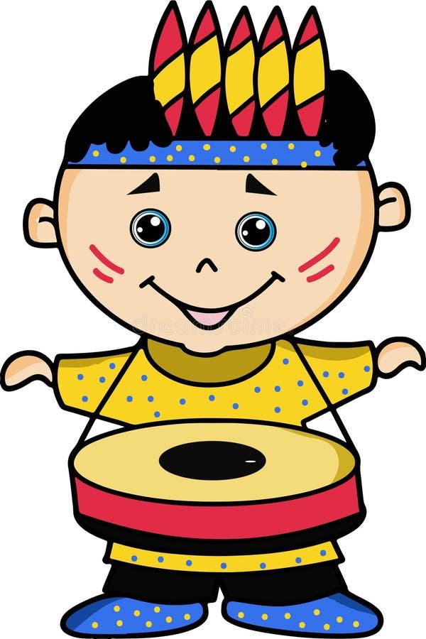 Ребенк играя барабанчик иллюстрация штока