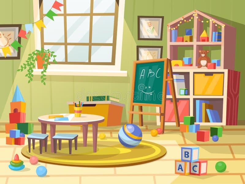 Ребенк или дети, комната мальчика ребенка для образования игры иллюстрация вектора