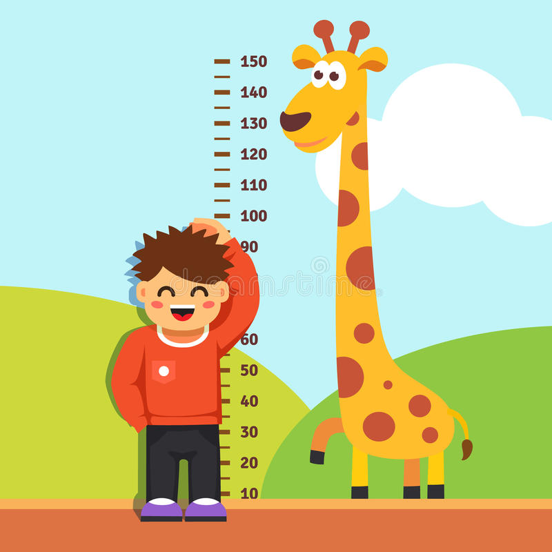 Ребенк мальчика измеряя его высоту на стене детского сада иллюстрация штока