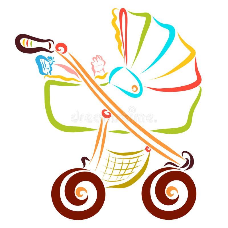 Ребенк отдыхая в детской сидячей коляске, младенчество бесплатная иллюстрация