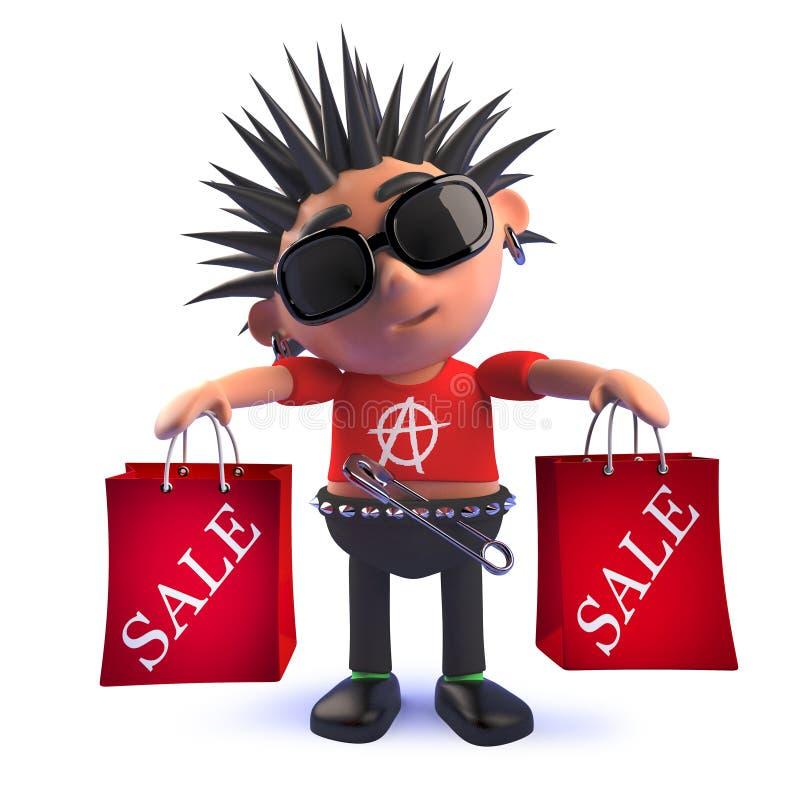 Ребенк панковского утеса мультфильма в хозяйственных сумках продажи удерживания 3d иллюстрация вектора