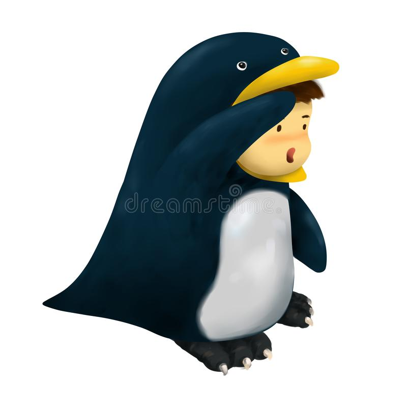 Ребенк пингвина, мальчик в костюме пингвина смотря afar иллюстрация вектора