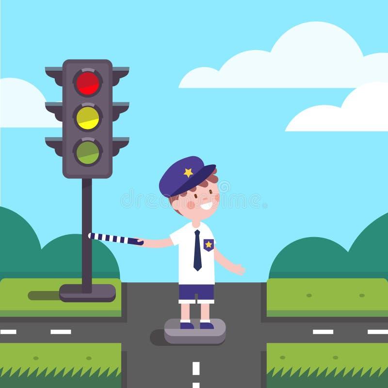 Ребенк полисмена офицера движения работая на пересечении дорог иллюстрация штока