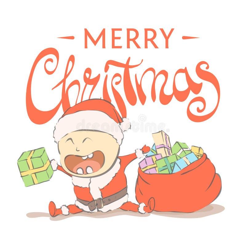 Ребенк Санта Клаус иллюстрация штока