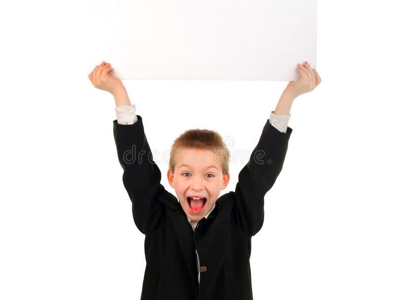 Ребенк с пустой доской стоковые изображения