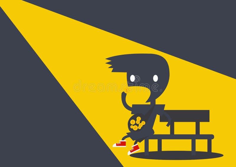Ребенк тени темный ест деньги для дохода от бизнеса иллюстрация вектора