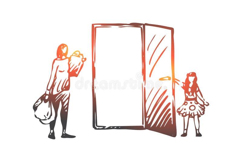Ребенк, хороший, образы, девушка, концепция матери Вектор руки вычерченный изолированный иллюстрация вектора