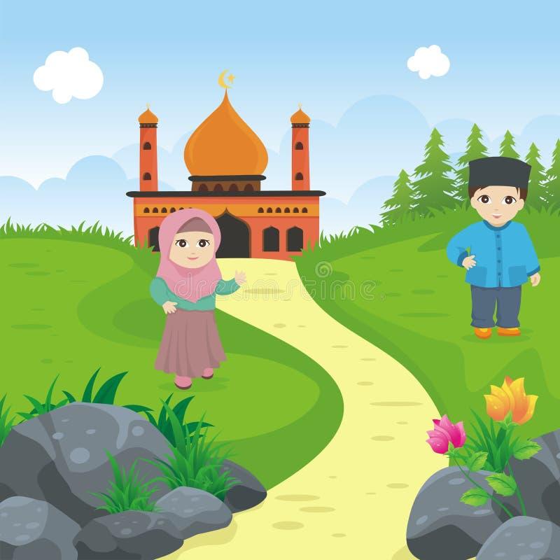 Ребенк шаржа исламский с мечетью и ландшафтом иллюстрация штока