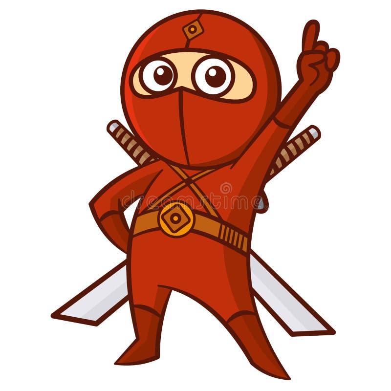 Ребенк Ninja супергероя красный иллюстрация вектора