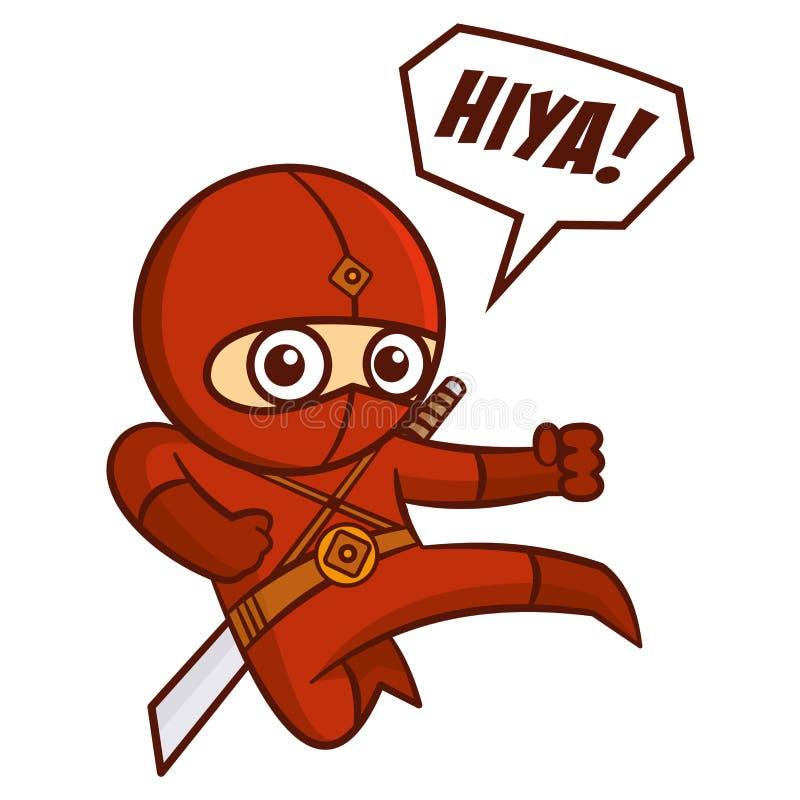 Ребенк Ninja супергероя красный иллюстрация штока