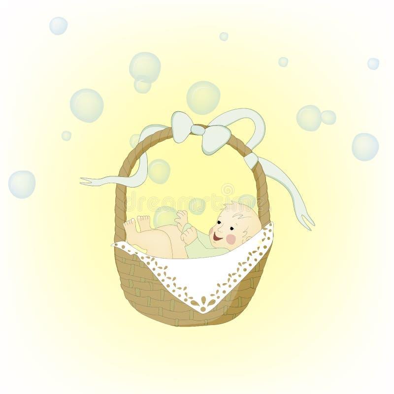 Ребенок в коричневой корзине иллюстрация штока