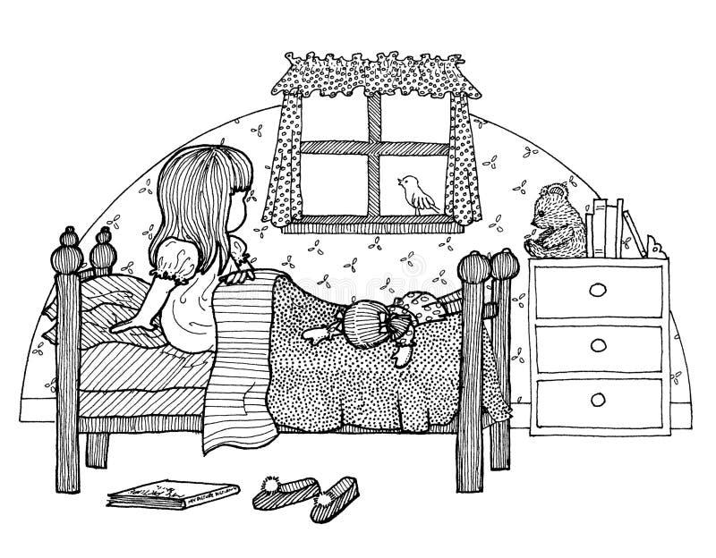 Ребенок в кровати иллюстрация штока