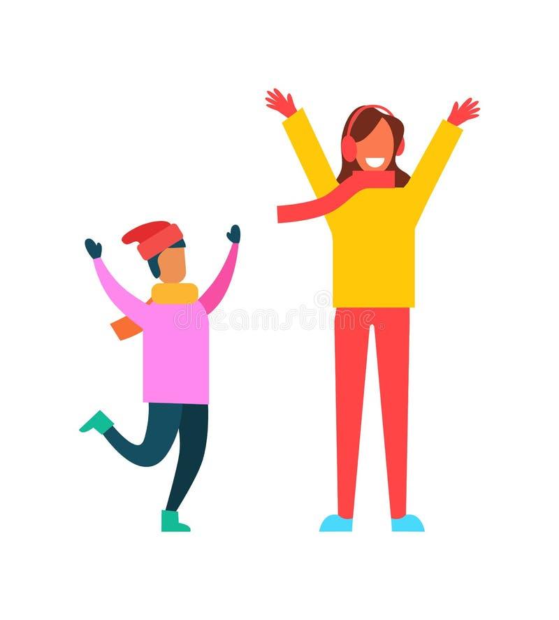 Ребенок в розовом свитере, шляпе Санта s, в теплых Mittens бесплатная иллюстрация