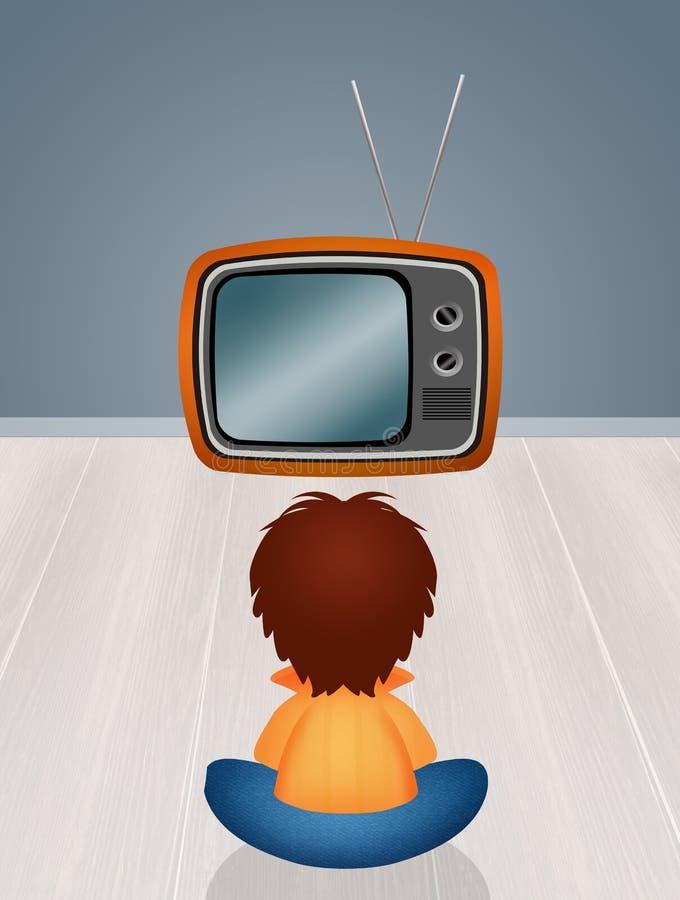Ребенок в фронте телевидение иллюстрация штока