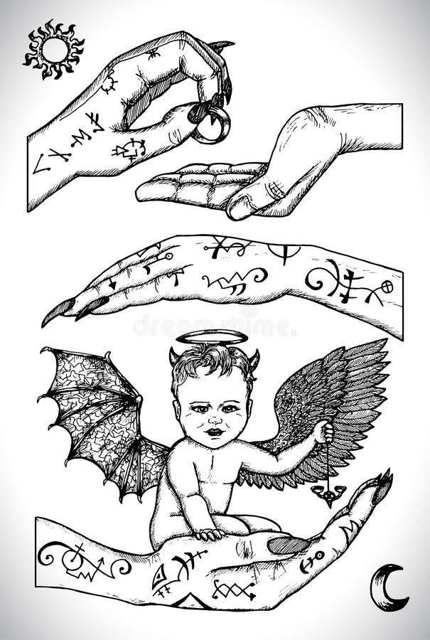 Ребенок демона сидя в руках иллюстрация вектора