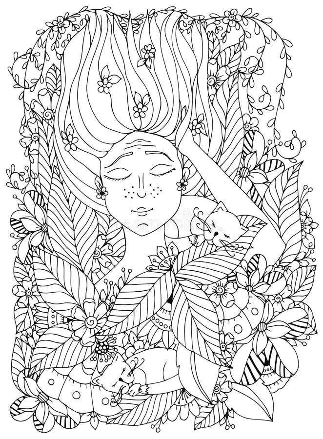 Ребенок девушки zentangl иллюстрации вектора с веснушками спит с котами в цветках иллюстрация вектора