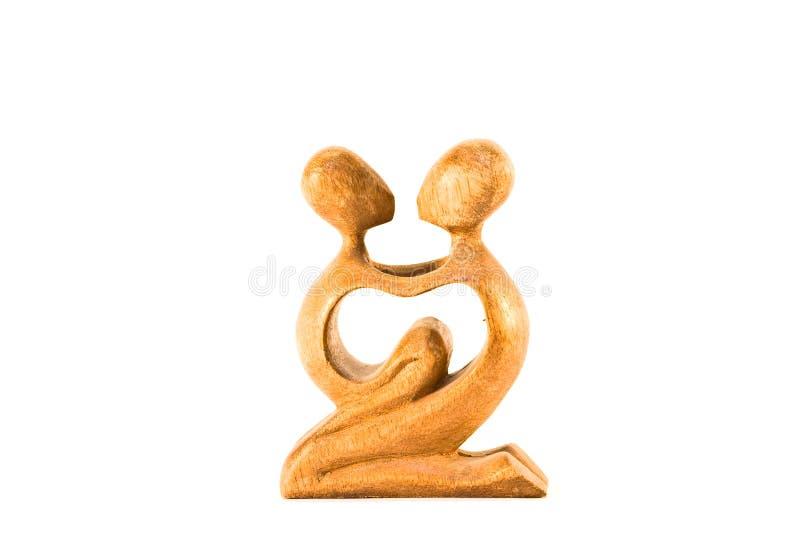 ребенок ее женщина статуи деревянная стоковая фотография rf