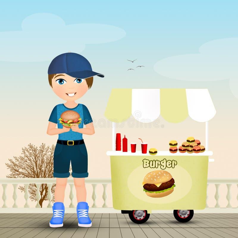 Ребенок ест бургер бесплатная иллюстрация