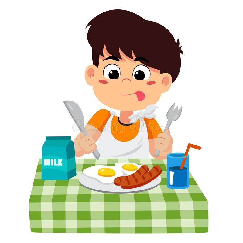 Ребенок ест завтрак который может повлиять на рост детей иллюстрация вектора