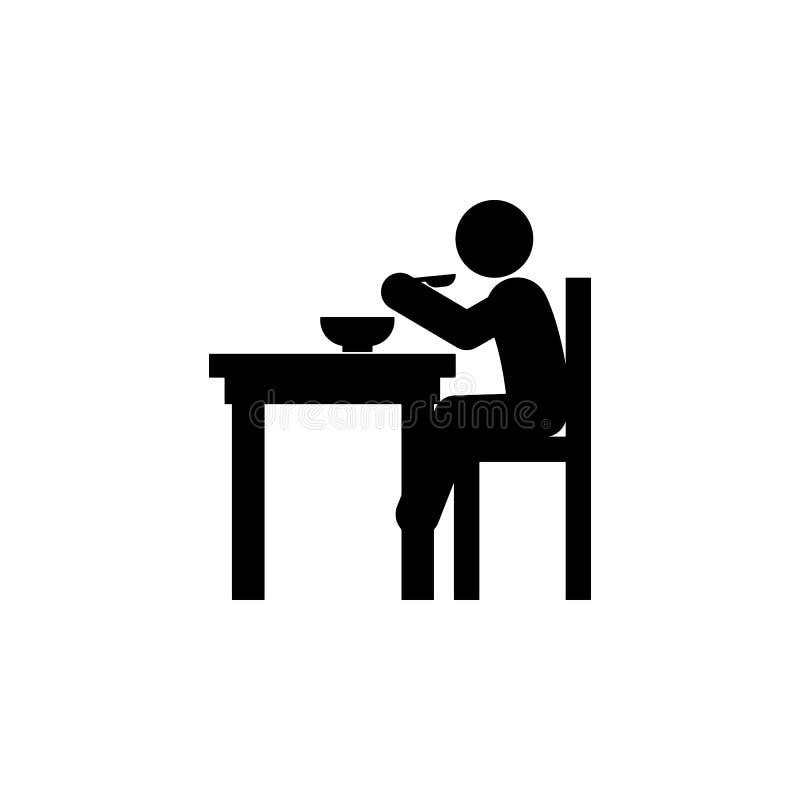 ребенок, ест значок Элемент значка ребенка собственной личности глифа независимого для мобильных приложений концепции и сети Ребе иллюстрация вектора