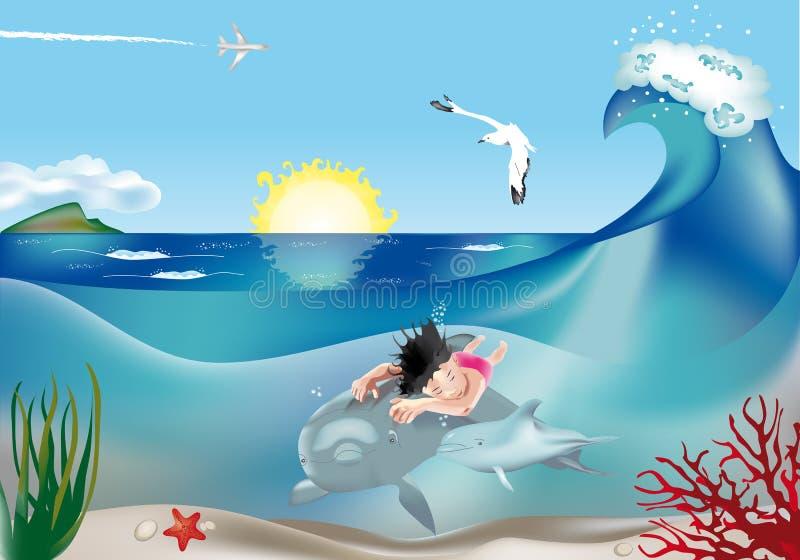 Ребенок заплывания с дельфинами 2 бесплатная иллюстрация