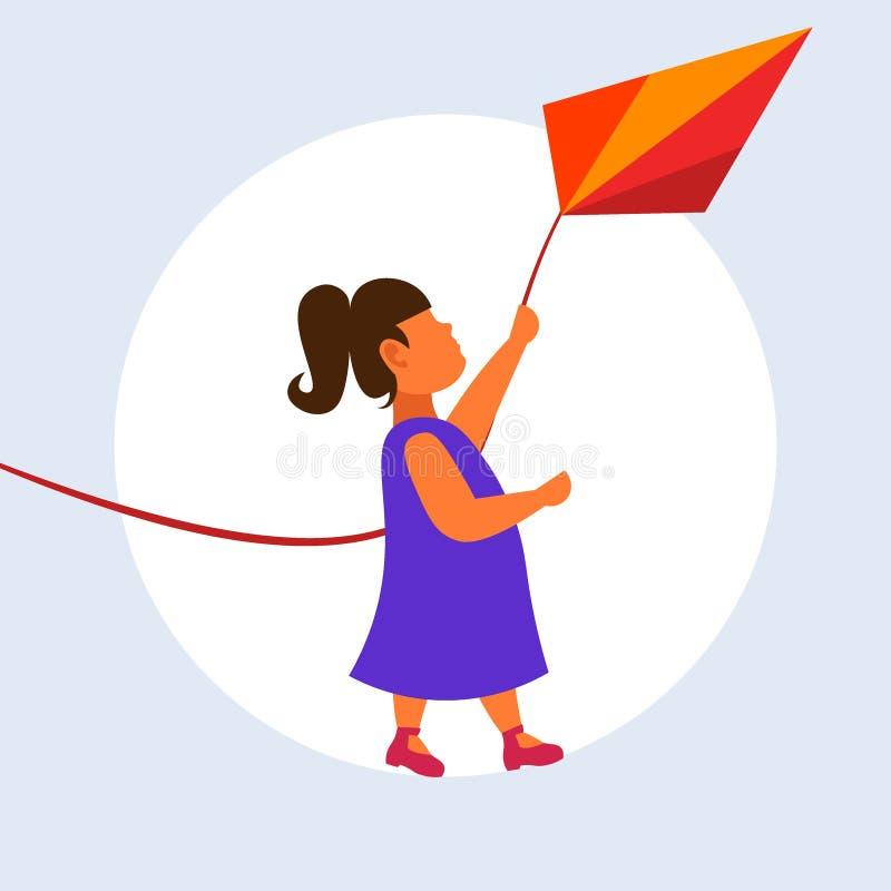 Ребенок змея маленькой милой девушки запуская имея потеху играя концепцию детства игрушки летания ветра счастливую во всю длину п бесплатная иллюстрация