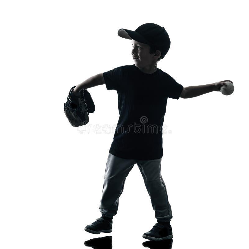 Ребенок играя изолированный силуэт игроков софтбола стоковые изображения rf