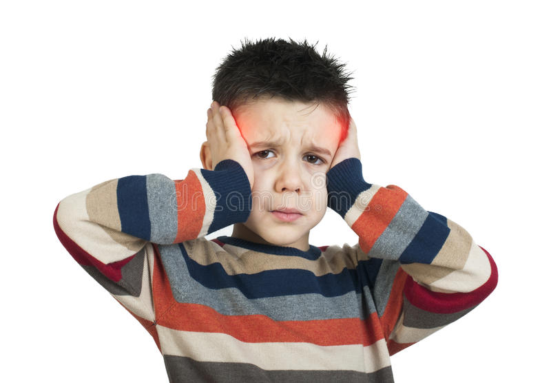 Ребенок имеет головную боль стоковая фотография rf