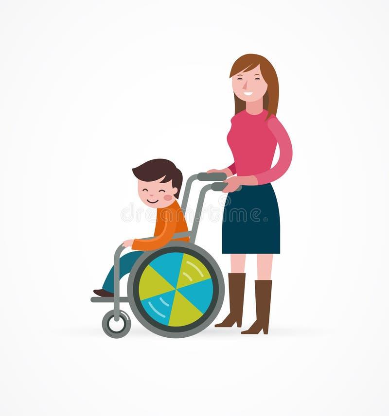 Ребенок-инвалид в кресло-коляске с родителем бесплатная иллюстрация