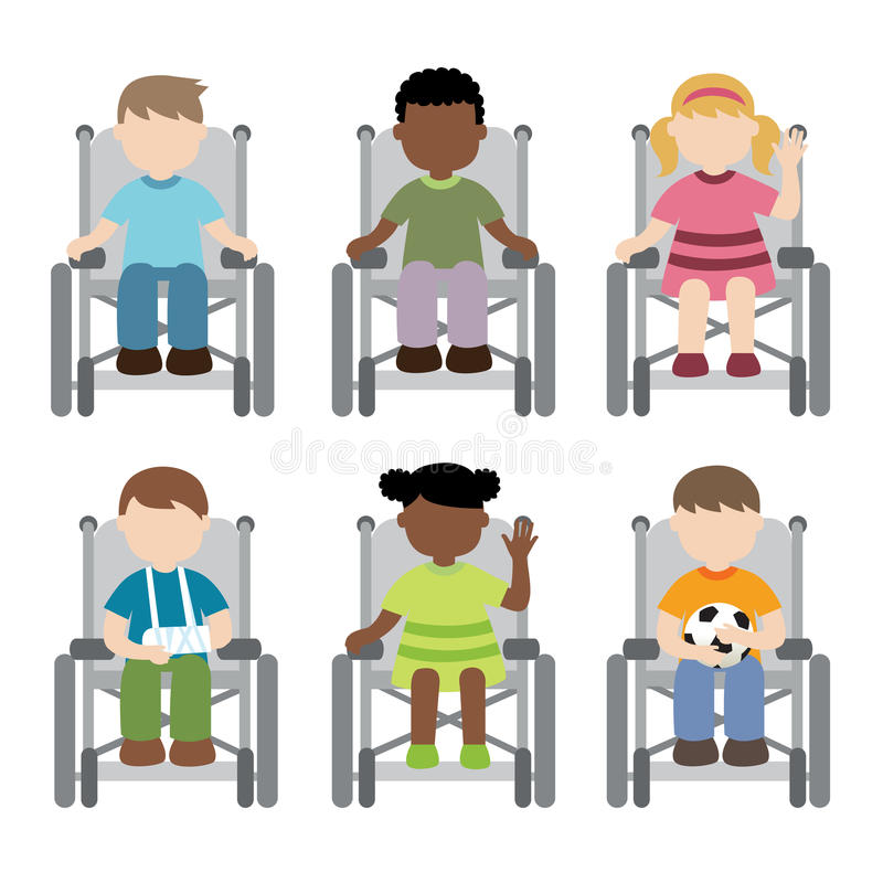 Ребенок-инвалид сидя на кресло-коляске бесплатная иллюстрация