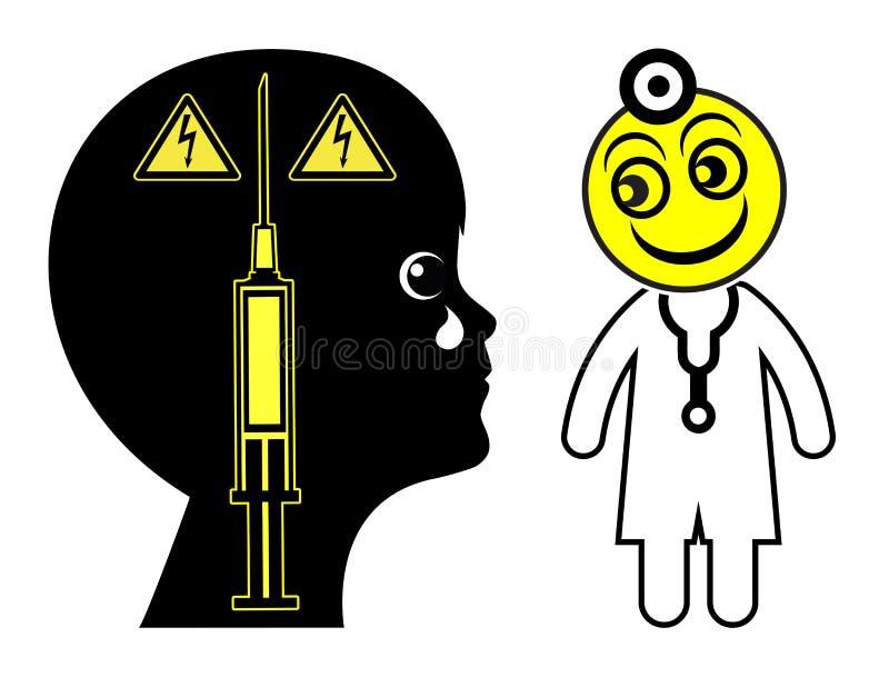 Ребенок испуганный доктора иллюстрация штока