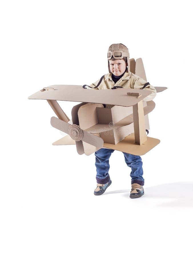 Ребенок и воздушные судн стоковое фото