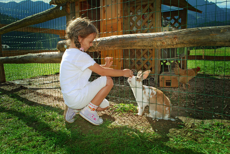 Ребенок и кролик стоковая фотография rf