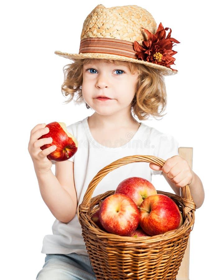 ребенок корзины яблок стоковые изображения rf