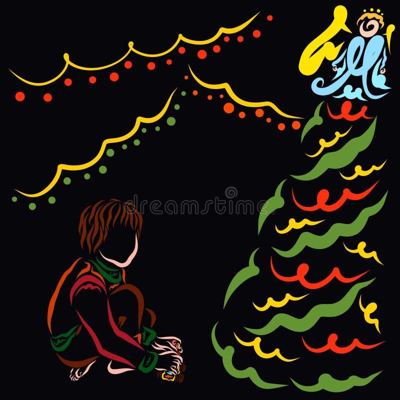 Ребенок который получил podyarki рождества сидит рядом с украшенной рождественской елкой иллюстрация вектора
