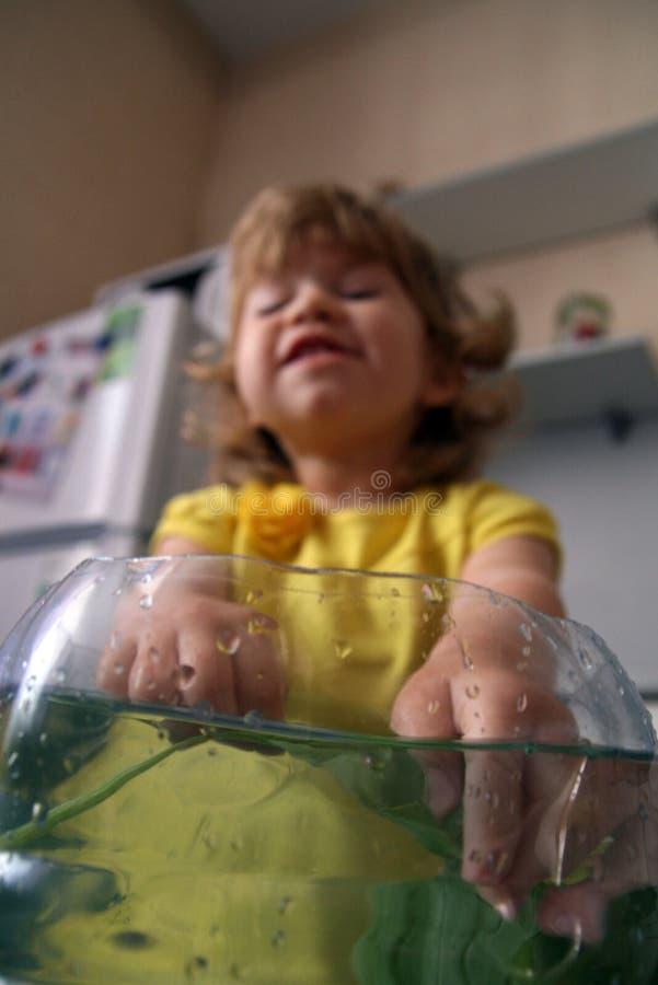 ребенок кладет его руки в аквариум стоковая фотография