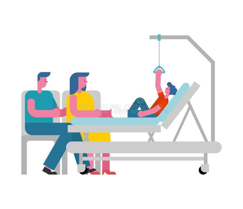 Ребенок на больничной койке и родители Мальчик с сломленной ногой pati ребенк иллюстрация вектора