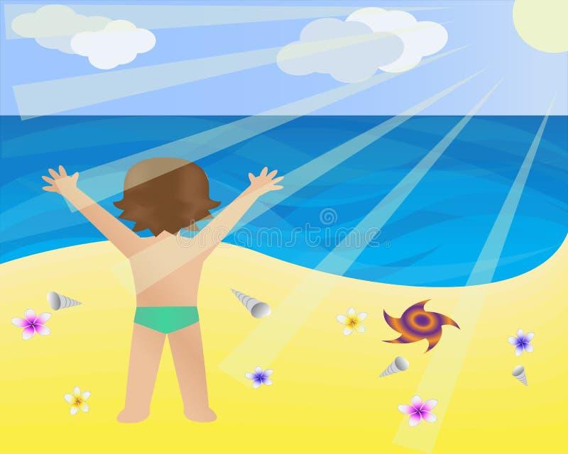 ребенок пляжа иллюстрация вектора