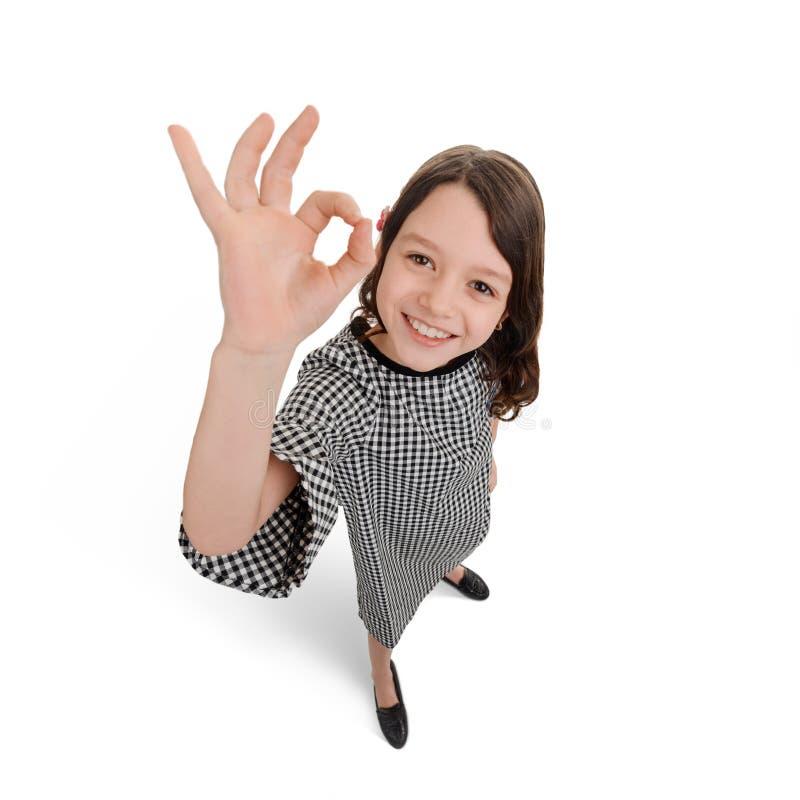 Ребенок показывая alright знак стоковые изображения rf