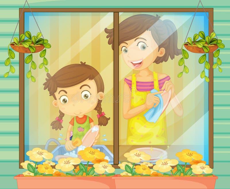 Ребенок помогая ее матери моя тарелки иллюстрация вектора
