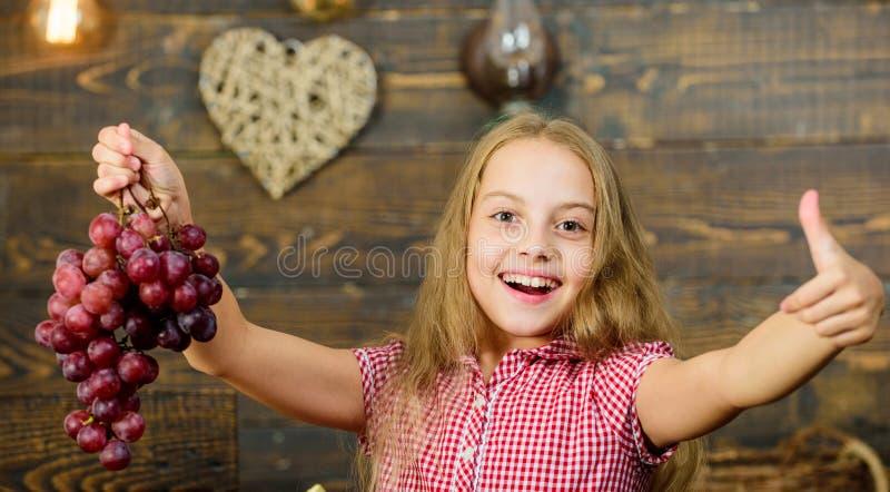 Ребенок представляя саду виноградин сбора деревянную предпосылку Праздник сбора падения Идея фестиваля падения начальной школы стоковое изображение