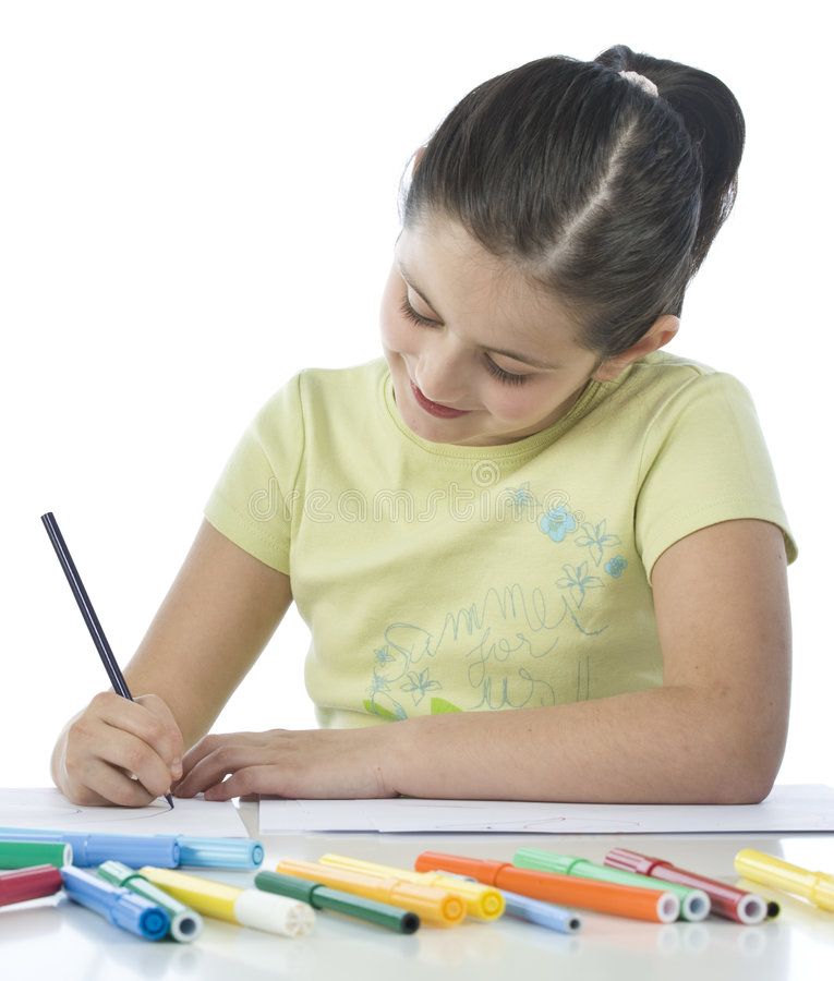 ребенок рисует стоковые фотографии rf